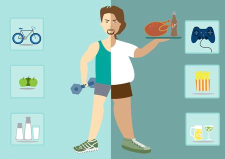El hombre existe antes y después de la dieta, estilo de vida saludable, vector