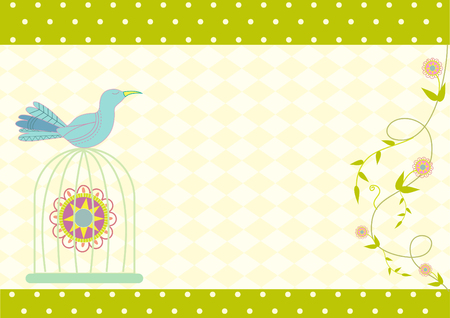 beautyful: Bird and birdcages and on beautyful green cards Illustration