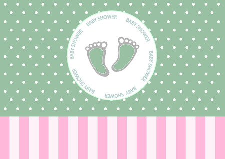 baby foot: Cute baby foot on greeting card,Design of baby shower cards