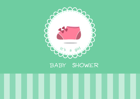 Cute baby shoes on greeting card,Design of baby shower cards