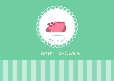 Zapatos de bebé lindo en tarjeta de felicitación, Postales diseño de baby shower Vectores