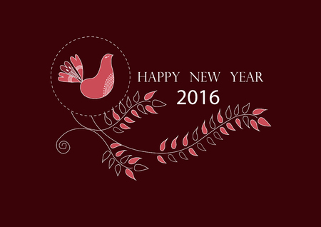 newyears: happy new year 2016 on cute floral greeting cards ,vector illustrations