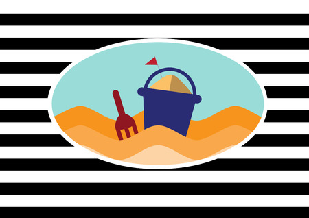 bucket and spade: Beach and Toy bucket with spade on stripe backgrounds