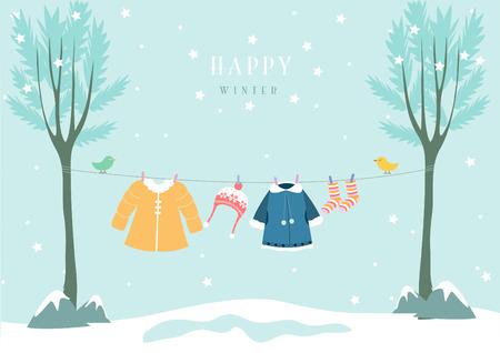 ropa de invierno: ropa de invierno en bosque de la nieve, Diseño de tarjetas de bebé Vectores