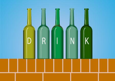 beer bottle: Group of wine bottle,beer bottle on red brick wall backgrounds
