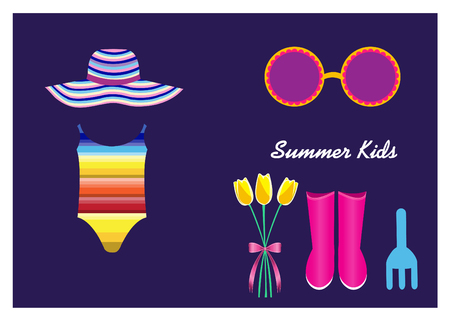 Kids summer clothes on purple backgrounds