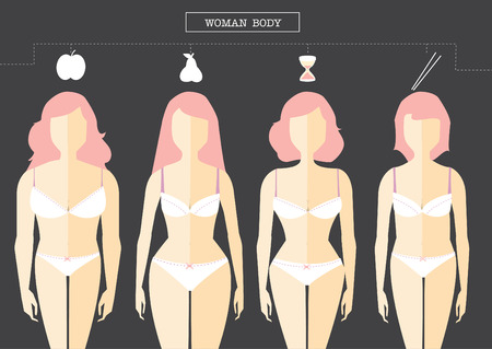 modelos desnudas: Conjunto de tipos de la forma del cuerpo, ilustraciones vectoriales femeninos
