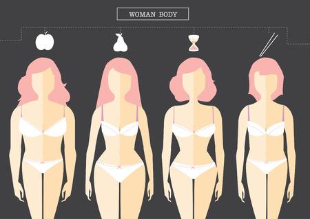Satz von weiblichen Körperform-Typen, Vektor Illustrationen Standard-Bild - 49745226