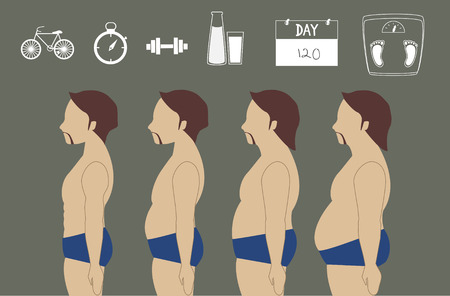 losing: silhouettes of man losing weight,vector illustrations Illustration