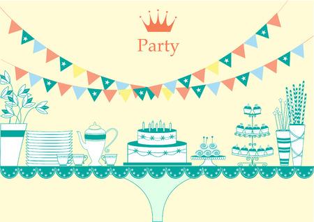 plato de comida: Mesa de postres para una fiesta, ilustraciones vectoriales