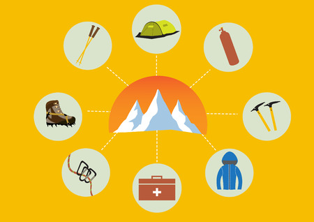 ice axe: Group of climb equipment with mountains Illustration