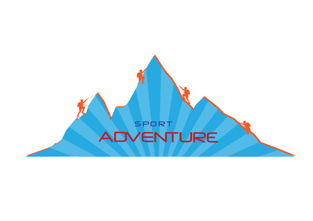 mountaineer: Mountaineer climb a mountain. Vector illustrations
