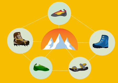crampons: Group of climbing shoes with mountain Illustration
