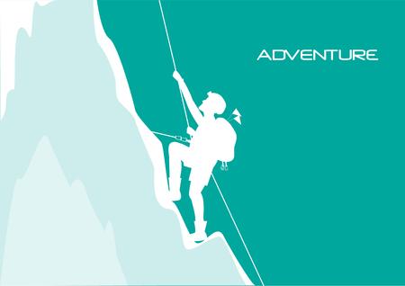 Bergbeklimmer klimmen op de rots, vector illustratons