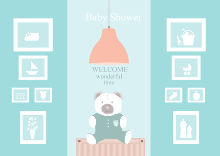 shower room: Baby shower design with cute bear dolls on living room