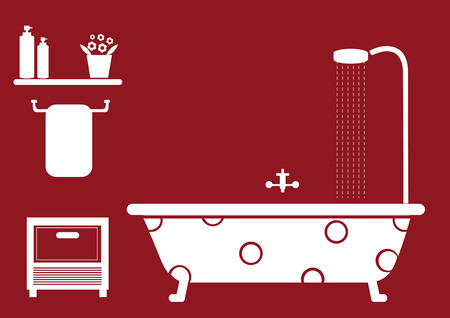 two children: bathroom objects on red background