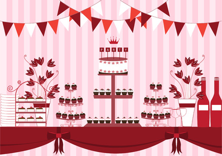 wedding table setting: Dessert table for a party,vector illustrations Illustration