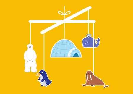 baby crib: Baby crib hanging toy,vector illustrations Illustration