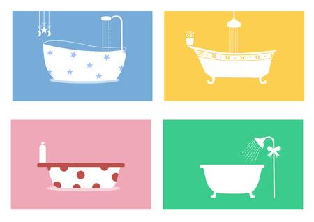 flower bath: Group of bathtubs,Vector illustrations