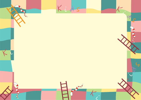 Ladder snake game ,Funny frame for children. Ilustracja