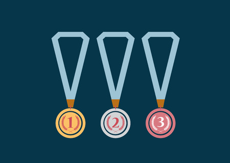 Set of gold, silver and bronze medals on green background,Vector illustrations Illustration