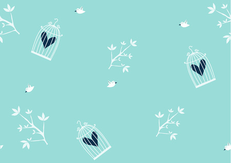 nature pattern: Nature Pattern with birds and bird cage , seamless pattern