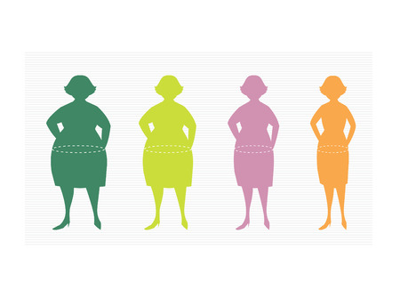 silhuette: Stages of silhuette woman on the way to lose weight,Vector illustrations