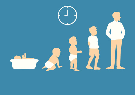 Stages of growing up from baby to man Vectores
