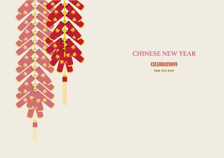 Petardos rojos en tarjeta de Año Nuevo, ilustraciones vectoriales chinos