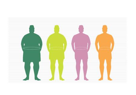 Étapes de silhuette homme sur le chemin pour perdre du poids, illustrations vectorielles