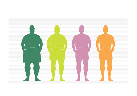 silhuette: Stages of silhuette man on the way to lose weight,Vector illustrations Illustration