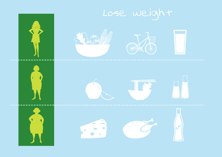 nudes: silhouettes of women losing weight,vector illustrations