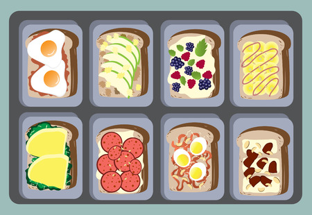 nuggets: Sandwiches Collection for healthy ,Vector illustrations Illustration