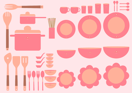 formal place setting: Set of cute kitchenware on pink backgrounds