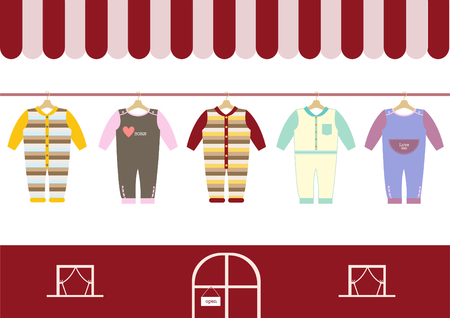 clothes shop: children clothes shop ,shops and stores icons,Vector illustration Illustration
