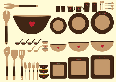 formal place setting: Set of cute kitchenware on brown backgrounds