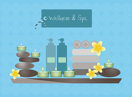 wash basin: Spa and body care icons flat on blue backgrounds Illustration