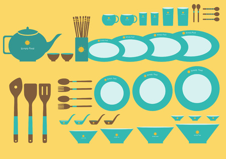 formal place setting: Set of cute kitchenware on yellow backgrounds Illustration
