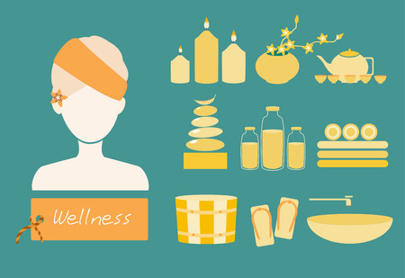 wash basin: Spa and body care icons flat set,Vector illustrations Illustration