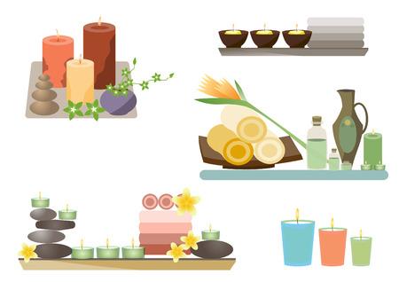 Spa en lichaamsverzorging iconen flat set, Vector illustraties Stock Illustratie
