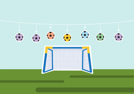 soccer goal: Set of ball with Soccer Goal,Vector illustrations