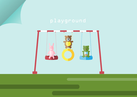 summer tires: Animal dolls and swing on playgrounds,Vector illustrations