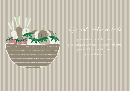 wicker: Hand drawn doodle Vegetables and wicker basket on brown stripe backgrounds,Vector illustrations