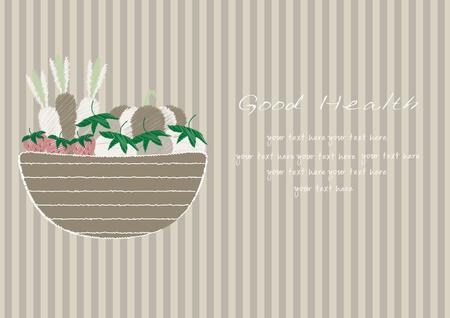 brown stripe: Hand drawn doodle Vegetables and wicker basket on brown stripe backgrounds,Vector illustrations