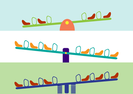 see saw: see saw horizontal set,Vector illustrations