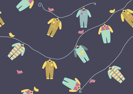 Baby-Kleidung nahtlose Muster, Vektor-Illustrationen Vektorgrafik