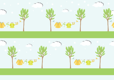 Baby clothes on clothespin ,seamless pattern ,Vector illustrations 向量圖像