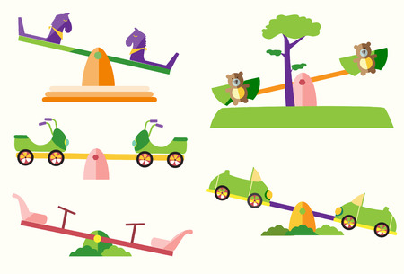 Set of see saw on playgrounds Illustration