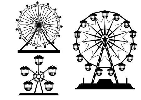 amusement park black and white: Set of silhouettes Ferris Wheel from amusement park, vector illustrations