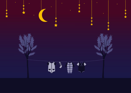 clothespin: Baby clothes on clothespin in the night sky , Design for kid cards Illustration